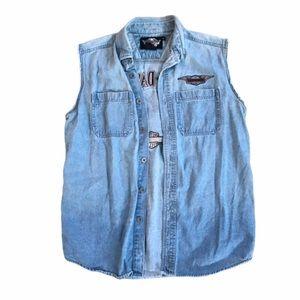 Vintage Harley Davidson Jean Button Up Vest